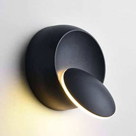 Appliques Murales Interieur Blanc Chaud Lampe Murale LED 5W Moderne Applique Murale Blanc Chaud Créatif Eclipse 2 en 1 Fer Applique Murale Lampe Led (Noire)