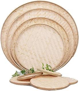 100% Handwoven Flat Wicker Round Fruit Basket Woven Food Storage Weaved Shallow Tray Bin Vegetable Organizer Holder Bowl Decorative Rack Display Kids DIY Art Drawing Board Tablet Paint (18cm)