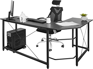 "AuAg Modern L-Shaped Home Office Desk 66 inch Sturdy Computer PC Laptop Table Corner Desk Workstation Larger Gaming Desk Easy to Assemble 66.5"" x 47.5"" x 29.3"" (Black)"