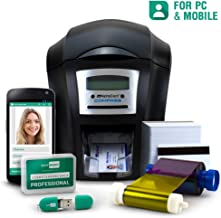Complete ID Card Printer Bundle: AlphaCard Compass ID Printer, EasyBadge ID Software & Mobile App & ID Supplies (Single-Sided w/Mag Strip)- 100 Premium Magnetic Printable Cards