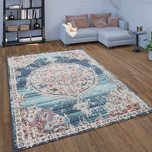 Paco Home In- & Outdoor-Teppich Für Balkon Terrasse, Kurzflor Mit Orient-Muster In Blau, Grösse:240x330 cm