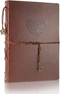 Scrapbook Leather Photo Album Wedding Guest Book DIY Memories Book with 60 Black Pages Present for Valentines Mothers Anniversary Day Birthday Christmas Gift for Wife Mum Daughter (Large Love Album)