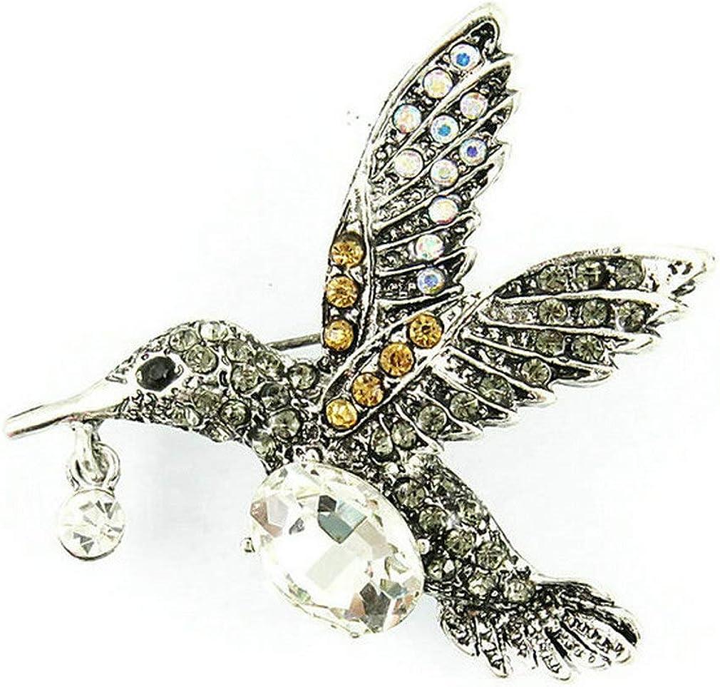 Topsee Jewel Enamel Rhinestone Crystal Bird Wing Brooch Pin for Women