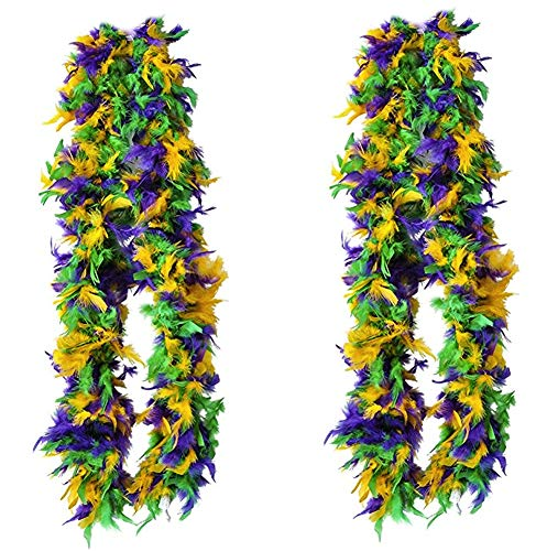 Tigerdoe Feather Boas - 2 Marabou Boas, Party Dressup Costume Accessories, 72 Inch Long (2 Pack Mardi Gras Boas)