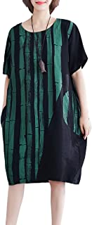 ELLAZHU Women Summer Loose Fit T-Shirt Midi Dress with Pockets GA712