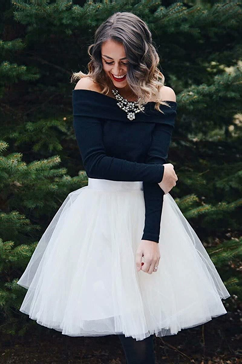 UZN Women's 50s Puffy Tulle Skirts Tutu Stretch Waist Half Slip 5 Layers Retro Party Skirt