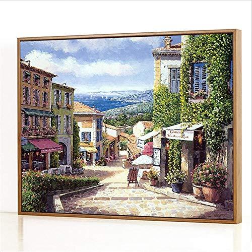 Diy Digitale Olieverfschilderij,Mediterrane winkel Schilderen Door Cijfers,Linnen Canvas ,Foto Voor Binnendecoratie - 40x50cm(Fotolijst)