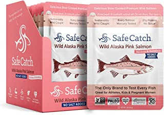 Safe Catch Wild Alaska Pink Salmon, No Salt Added, Mercury Tested, 3oz pouch (Pack of 12)