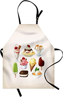 Ambesonne Dessert Apron, Colorful Cartoon for Ice Cream Shops Tasty Summer Cups and Sticks, Unisex Kitchen Bib with Adjustable Neck for Cooking Gardening, Adult Size, Pale Tan