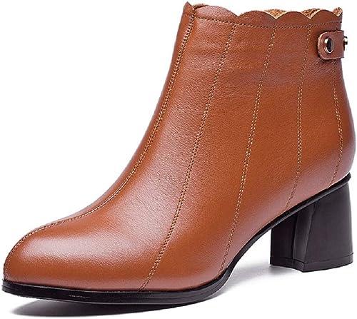 Gaslinyuan Bottes élégantes Femmes Chaussures en Cuir perlé Bloc Fermeture à glissière (Couleuré   Marron, Taille   EU 38)