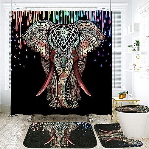 ZGDPBYF 4 Stück Buntes Elefanten-Duschvorhang-Set Mit Rutschfestem Teppich, Toilettendeckel Und Badematte, Mandala Indischer Elefanten-Duschvorhang Mit 12 Haken-4-Teiliges Set