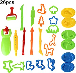 xxiaoTHAWxe 26 PCS Kids DIY Clay Tool Dough Play Tools Cutters Various Shapes Include of Cutters Models Animal Molds Rolling Pin