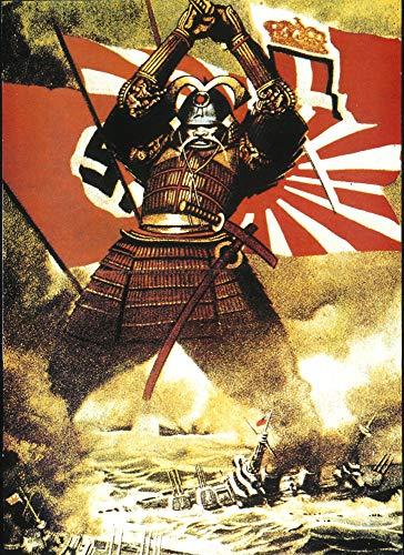 Samurai Canvas, Samurai Art,Samurai Poster, WW2 Poster - Japan Samurai WW2 FRAMED CANVAS PRINT, Genuine Wood Internal Frame, Wall Art Decoration, High Quality Print, 3D Effect