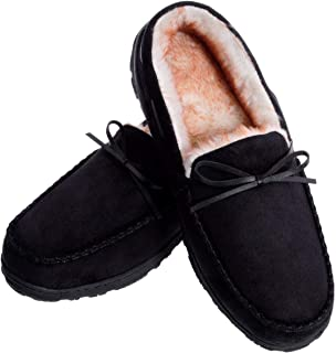 Men's Moccasin Slippers Warm Comfortable Memory Foam Plush Lining Anti Slip Indoor Outdoor Driving Loafers Shoes