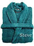 Spa Collection - Albornoz de algodón Egipcio 100% 500 g/m², Extra Absorbente con cinturón, Color Rosa Negro y Blanco, algodón, Verde Azulado, One Size Fits All M/L/XL
