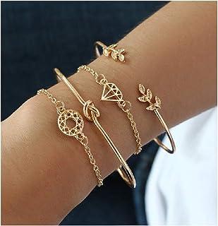 PIKAJIU 4pcs Bangle Rose Gold Bracelets for Women Girls Heart|Olive Leaf|Arrow|Feather|Knot Heart Open Cuff Bracelet Set A...