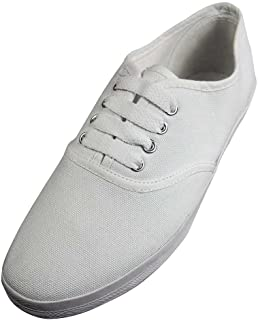 Easy USA - Womens Canvas Lace up Shoe with Padded Insole, White 37302-7.5B(M) US