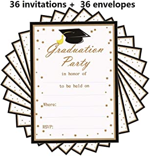2019 Graduation Party Invitations Card with Envelopes, Grad Celebration Announcement Supplies for High School/College/Senior School - 5 x 7 Inches - 36PCS