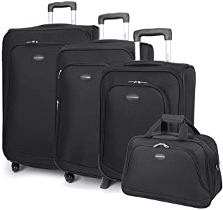 365636e2d2 David Jones - Set de 3 Valises Souples 4 Roues + 1 Sac Voyage - Lot Trolley  77 cm Taille Extensible - Bagage à Main Cabine Avion Ryanair Easyjet -Toile  ...