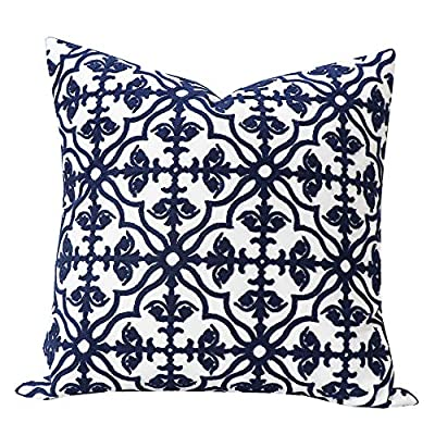 Embroidered Geometric Trellis Chain Pillow Cover