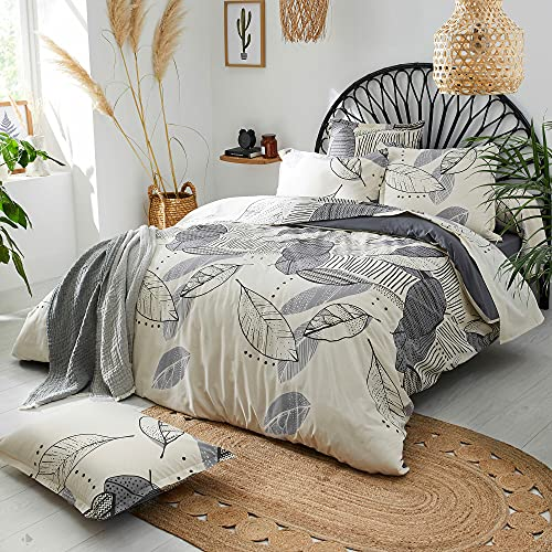 Linnea - Funda de almohada (140 x 43 cm, 100% algodón, con tapa, color gris