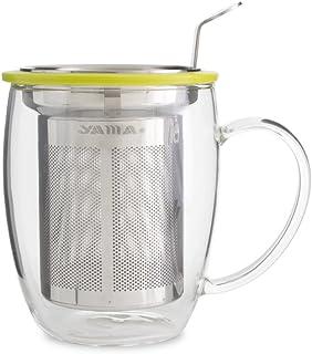 Yama Glass Tea Mug with Stainless Steel Infuser, 400ML, Clear