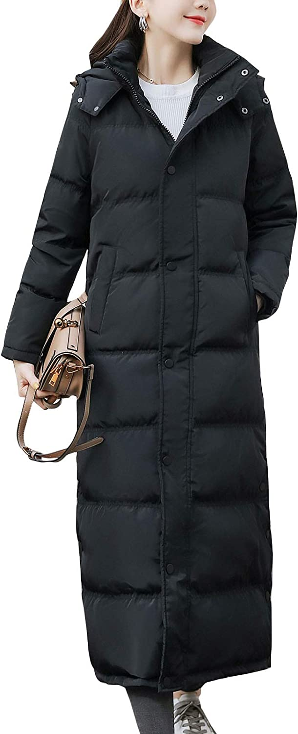 Flygo Women Maxi Down Coat Thickened Long Hooded Quilted Insulated Puffer Parka Jacket