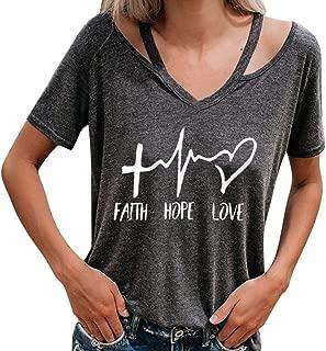 Faith Hope Love Christian T-Shirt Women Casual Letter Printed Short Sleeve Tops Tee SADUORHAPPY