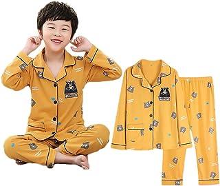 Pijamas niños Boy de Primavera y otoño de algodón de Manga Larga Delgada sección de Servicios hogar Boys' Juegos del bebé (Color : Yellow, Size : 120cm)