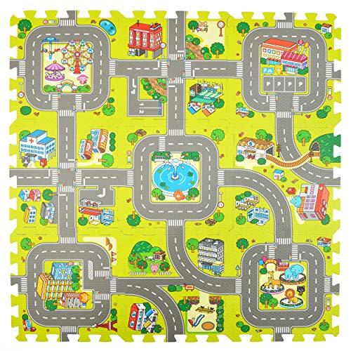 Puzzlematte Stadt, Straßen-Teppich 92x92cm, 9tlg. Spielmatte Puzzle für Kinder