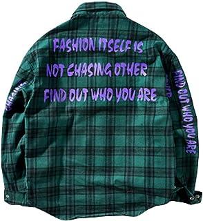 Dise/ño Original Irypulse Camisa a Cuadros de Manga Larga para Hombre Casual Tops Patr/ón de Alfabeto Loose-fit Moda Urbana Callejera Estilo Hip Hop Juventud Adolescente
