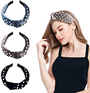 Pearl Headbands for Women 3-Pack, Velvet Wide Headbands Knot Turban Headband Vintage Hairband with Pearl Elastic Hair Hoops Fashion Hair Accessories for Women Girls