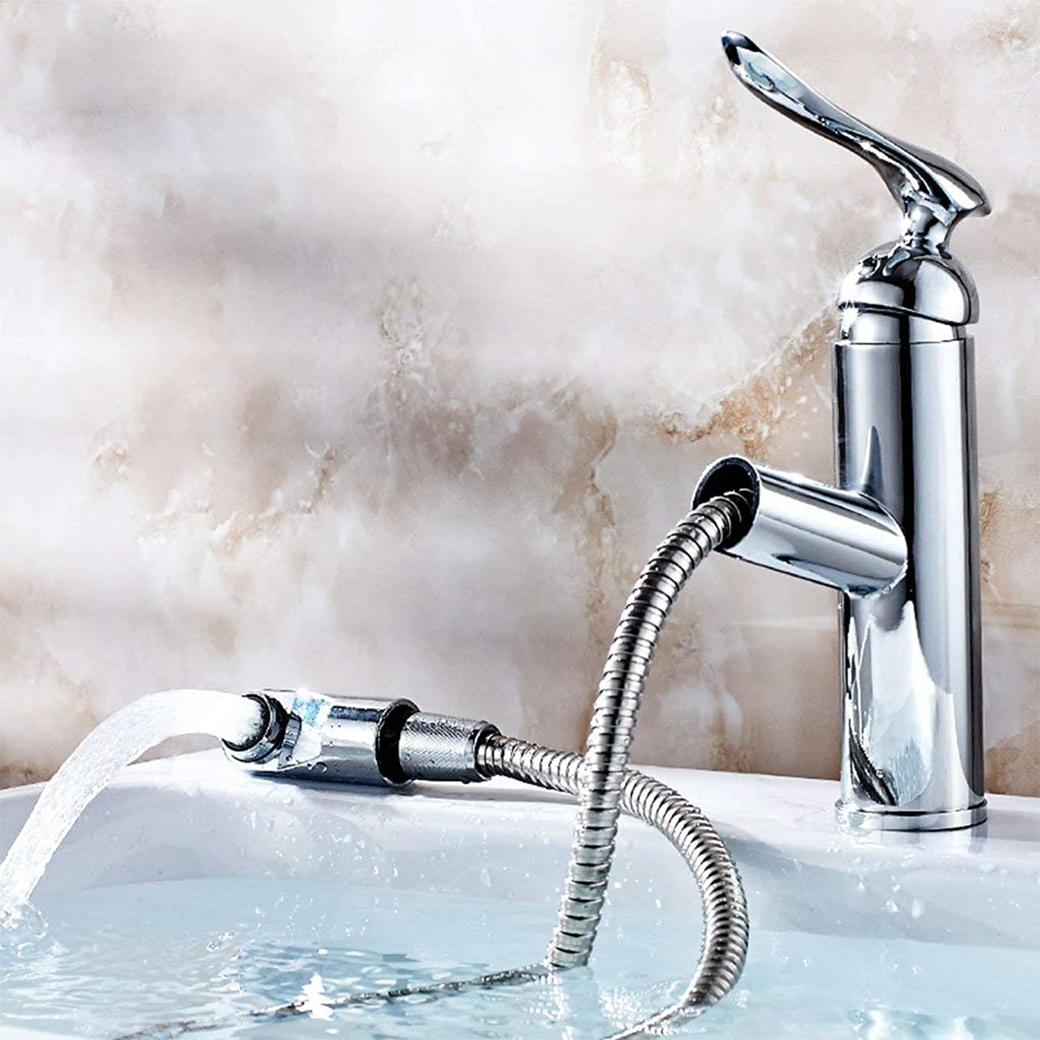 BMY High-end Basin Mixer Creative Fashion Bathroom Kitchen Hot And Cold Pull Out Faucet