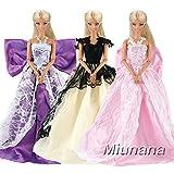 Miunana 3 Piezas Princesa Vestido de Noche Traje de Ropa Hermoso Vestir Fiesta Cumpleaños Boda como Regalo para Barbie Muñeca - Púrpura Negro Rosado