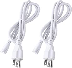 4 Foot Connector Power Cord for T5 T8 Integrated LED Light Tube Fixture, AC 110-250V Input, 3 Prongs US Plug - 2 Pack