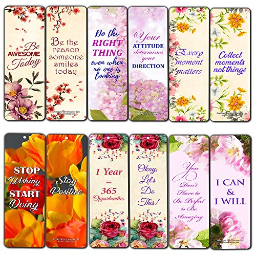 Creanoso Floral Positive Mindset Motivational Bookmarks for Women (12-Pack) – Premium Gift Set – Inspiring Word Sayings Quotes for Ladies, Wife, Girls – Six Bulk Assorted Bookmarks Designs