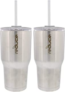 REDUCE COLD-1 Tumbler, 2 Pack Set - 30oz Stainless Steel Tumbler With Straw & Lid - Reduce Insulated Tumbler Keeps Drinks Hot & Cold, Ideal for Water & Tea - A Perfect Coffee Travel Mug For the Office