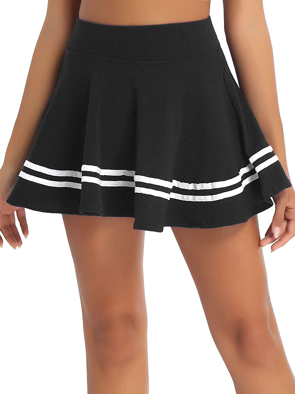 YiZYiF Women's Basic Casual Mini Stretch High Waist Flared Striped Hemline A-Line Skater Skirt
