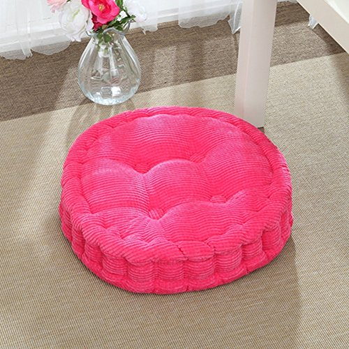Comfortable WARM Tufted Chair Cushion Futon For Outdoor,Solid Color Corduroy Thick Seat Cushion,Round Reversible Tatami Chair Pads Pink Diameter36cm(14inch)