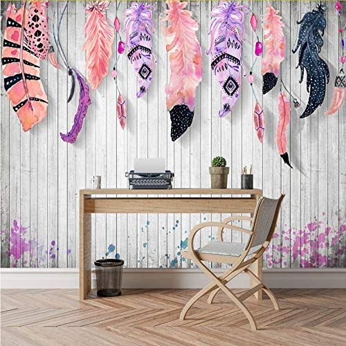Meaosy Retro Aangepaste Veer Houten Board Fotobehang Achtergrond voor Muur 3 D Kids Woonkamer Tv Bar Slaapkamer Muurschilderingen Roll 450x300cm
