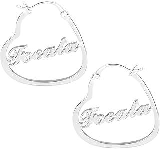 Nome inciso Orecchini con nome personalizzato Orecchini a cuore Nome a cerchio Nome Eardrop Dangler Festa della mamma per ...