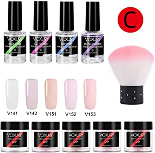 Dipping Powder Nail Kit with 5 Colors Glitter - Dip Powder System Starter Nail Kit Dipping System for French Nail Manicure Nail Art Set Essential Kit - Portable Kit