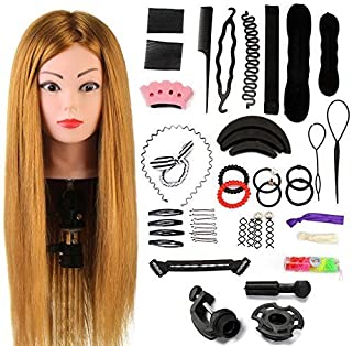 Neverland Beauty 24 Inch 60% Real Hair Hairdressing Training Head Practice Mannequin Head With Clamp + Hair Styling Braid ...