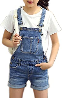 Girls Little Big Kids Distressed BF Jeans Cotton Denim Bib Overalls Summer Shortalls 1P