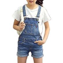 6794f5a613a Sitmptol Girls Little Big Kids Distressed BF Jeans Cotton Suspender Denim  Bib Overalls 1P