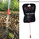 Gebuter 20L Solar Shower Bag Energy Heated Camp Outdoor Camping Hiking Utility Water Storage PVC Bags Portable Shower Bag for Solar Camping Shower Bag for Beach Swimming Outdoor Traveling Hiking