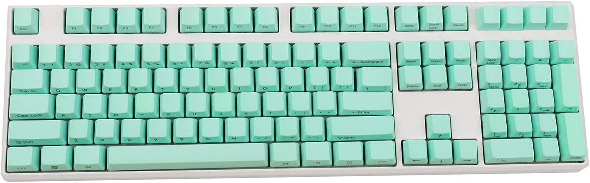 Side-Printed Thick PBT OEM Profile 108 ANSI Keycaps for MX Switches Mechanical Keyboard (Only Keycap) (Green)