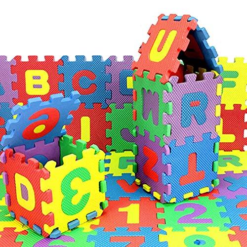 ZLHW 36 Stück Kinder-Schaumstoff-Spielmatte, Alphabet und Zahlen Bodenpuzzle, Kinder-Puzzle-Übungsspielmatte, ineinandergreifende Boden-Puzzle-Matte, EVA-Schaum-Spielmatte, für Kinder Mädchen/Jungen (