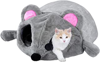 Washable Mouse Pet House Cave Bed for Small Medium Dog Cat with Removable Cushion & Waterproof Bottom