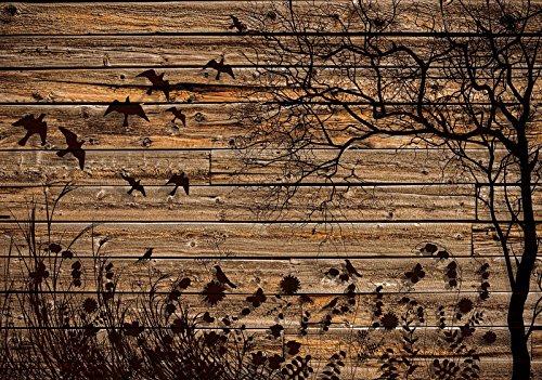 Mural 20127_P-MS, fotobehang, behang, muurschildering wereld-der dromen, weide op houten planken, imitatie hout, houten planken, natuur, bruin, blad vogel P4 (254cm. x 184cm.) bruin